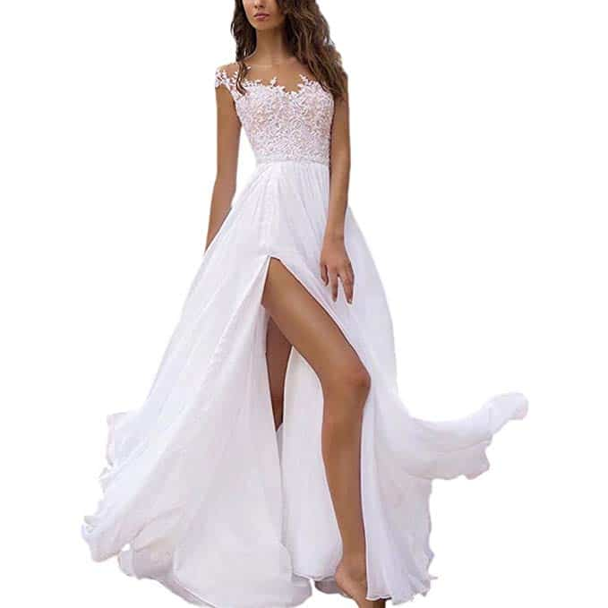 Holygift A-Line V-neck Beach Wedding Dress