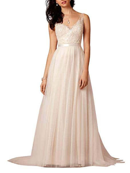 Ikeren wedding Women's V-neck A-line Long Beach Wedding Dress