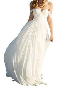 Lovelybride Elegant Long chiffon Bridal Beach Wedding Dress