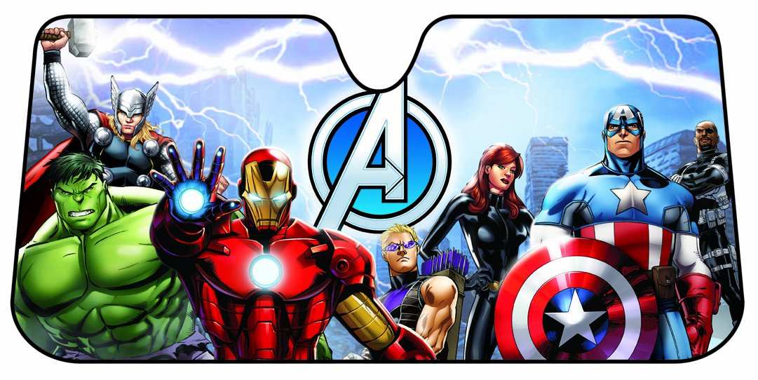 Plasticolor 003695R01 Marvel Avengers Accordion Style Car Truck SUV Front Windshield Sunshade