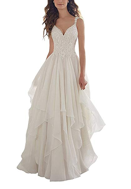 WANNISHA Women's Chiffon Simple Beach Wedding dress