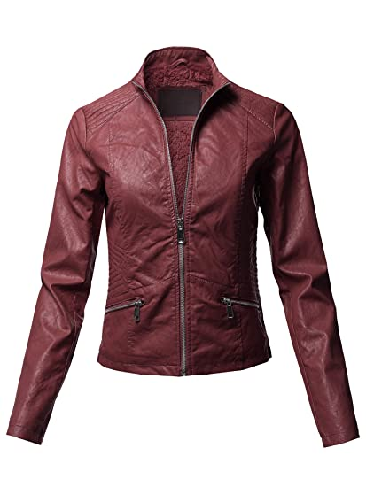 Awesome21 Women's Long Sleeves Zipper Closure Motorcycle Biker Faux Leather Jacket