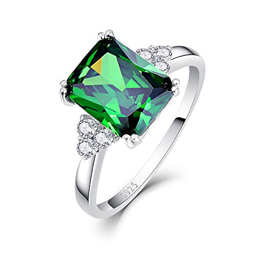 BONLAVIE Women's 5.3ct Emerald Cut Created Green Emerald 925 Sterling Silver Engagement Ring