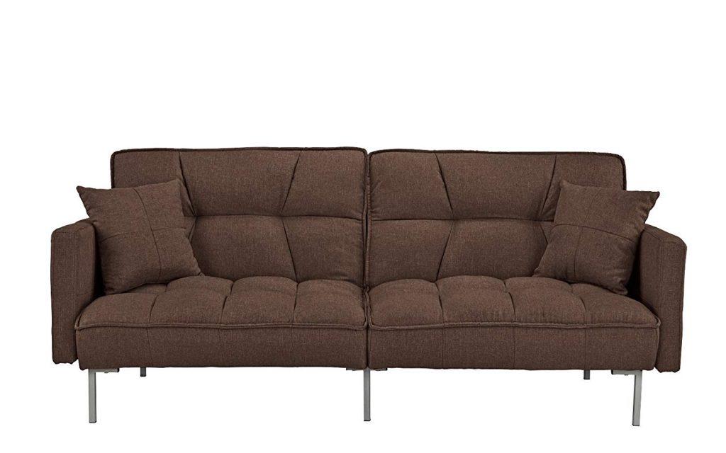 Divano Roma furniture Collection: Tufted Linen Split-back Sleeper Futon
