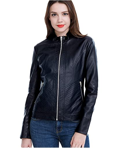 Fasbric Women's Faux Leather Jackets Moto Biker Jacket