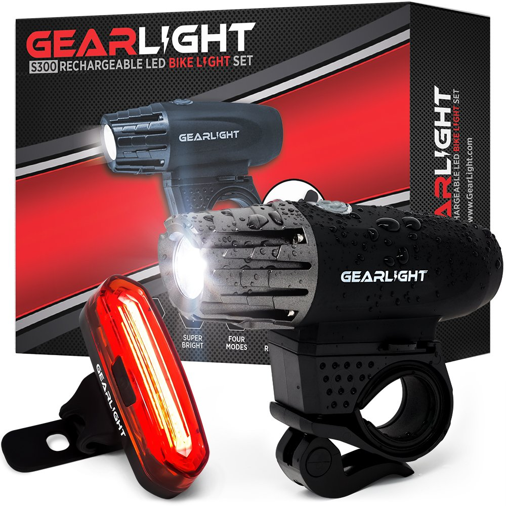 GearLight S300 LED Rechargeable Bicycle Light Set