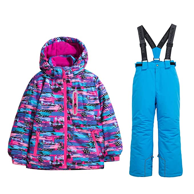 Girls Thicken Warm Snowsuit Hooded Ski Jacket Pants