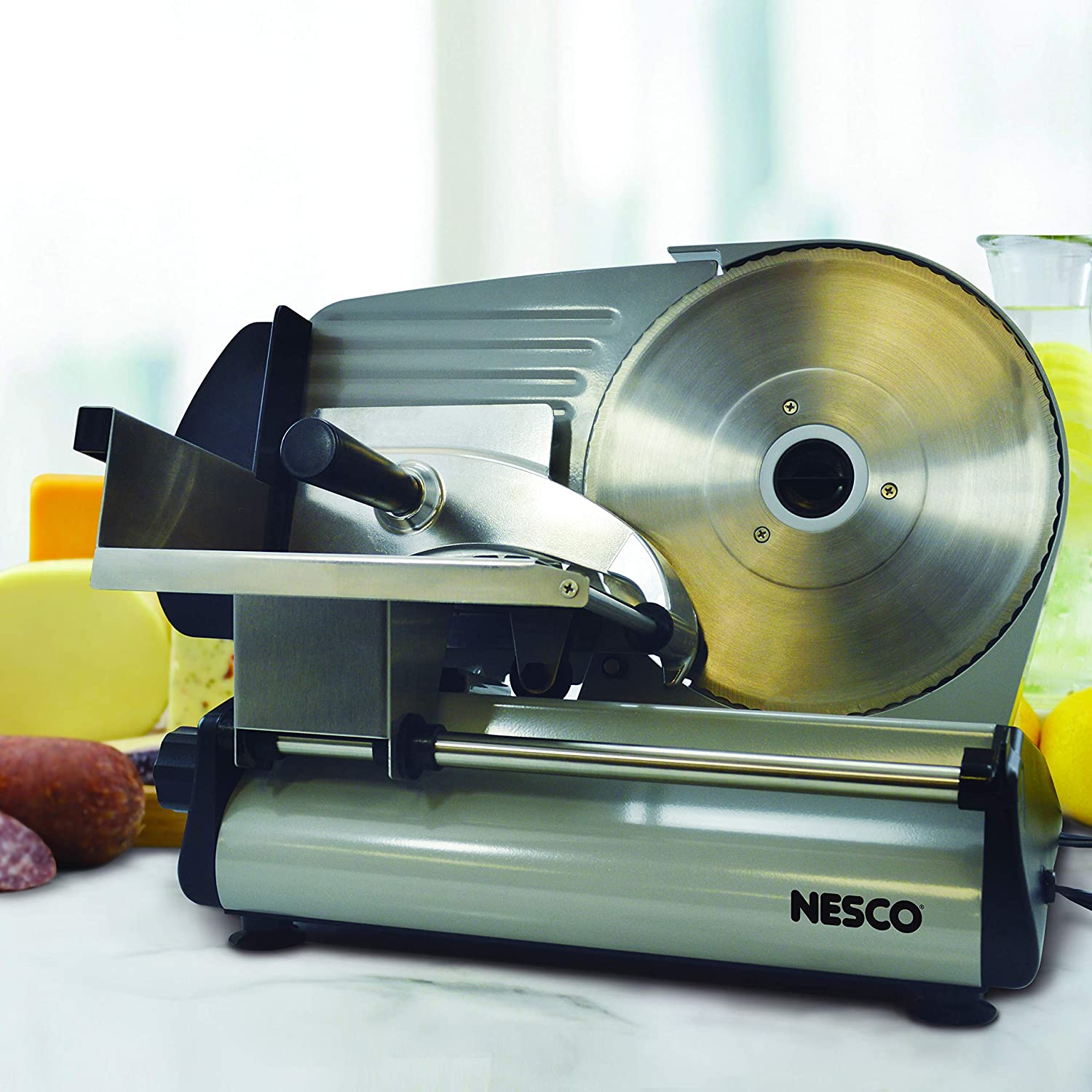 """NESCO 8.7"""" Stainless Steel Electric Meat Slicer"""