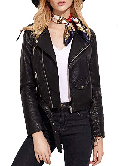 VerdusaWomen's Faux Leather Motorcycle Zipper Jacket