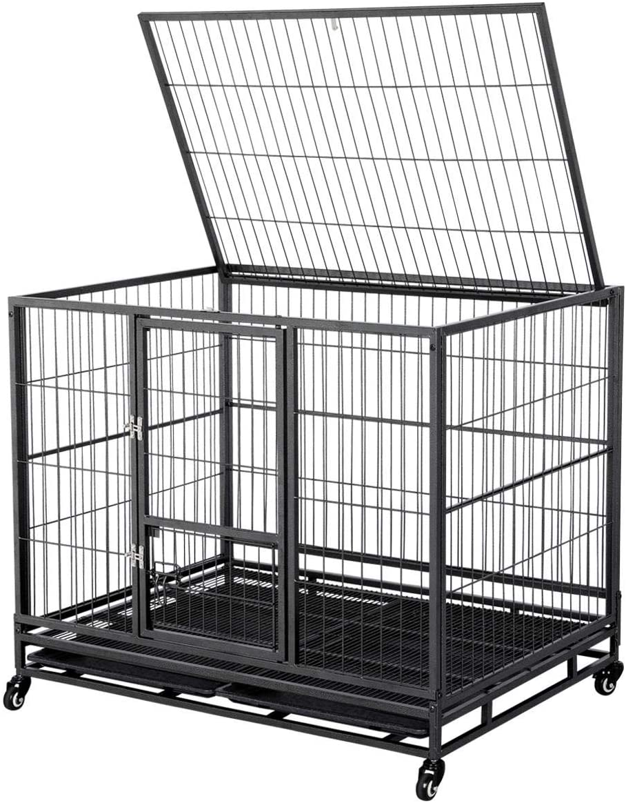 Yaheetech 43-inch Heavy Duty Metal Dog Cage Crate