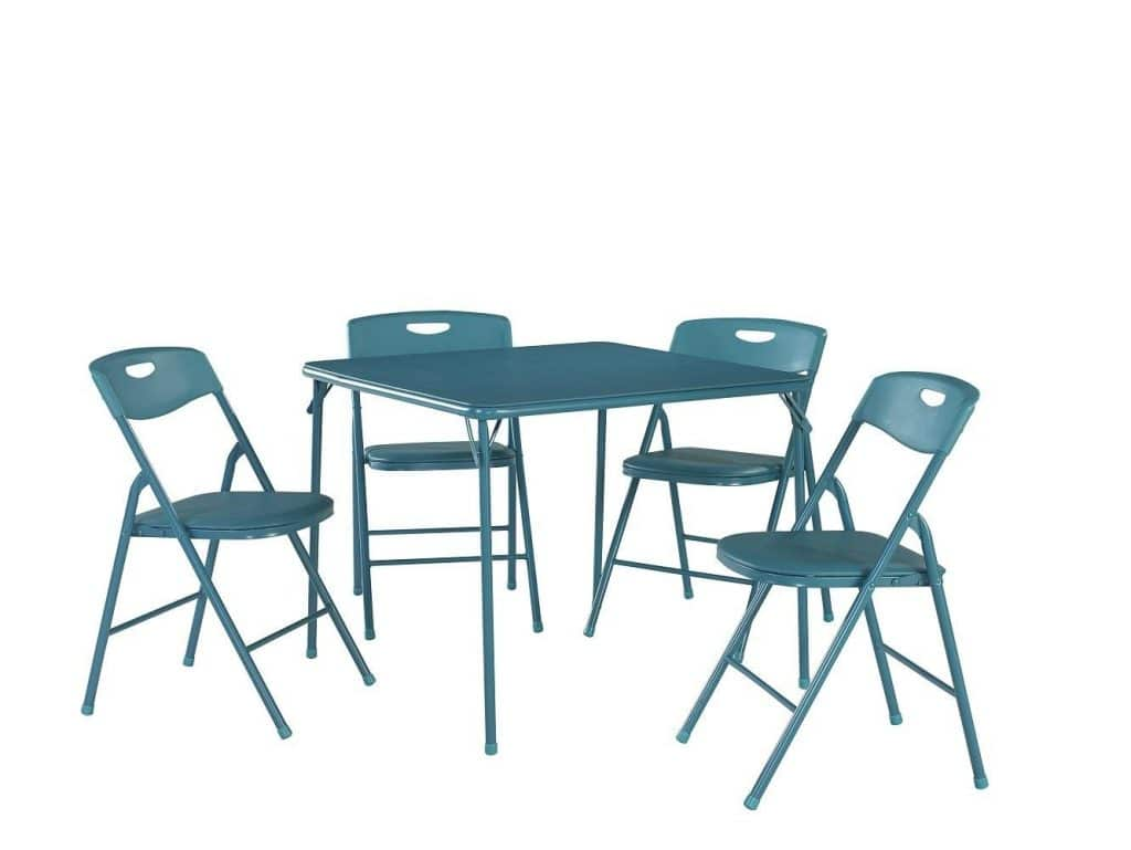 Cosco 37557TEAE 5-Piece Folding Table and Chair Set Teal