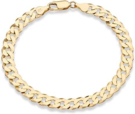 Miabella 18K Gold Over Sterling Silver Italian Cuban Link Bracelet