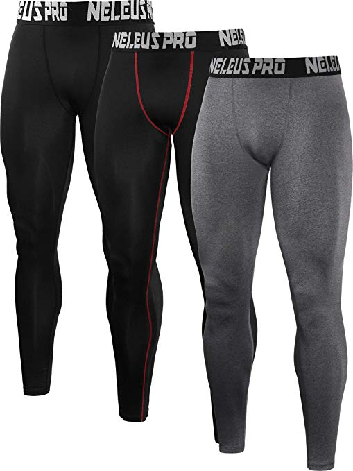 Neleus Men's 2 Pack Compression Tights