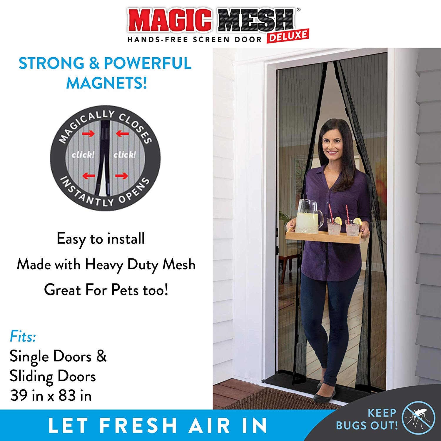 Magic Mesh Magnetic Screen Fits Doors