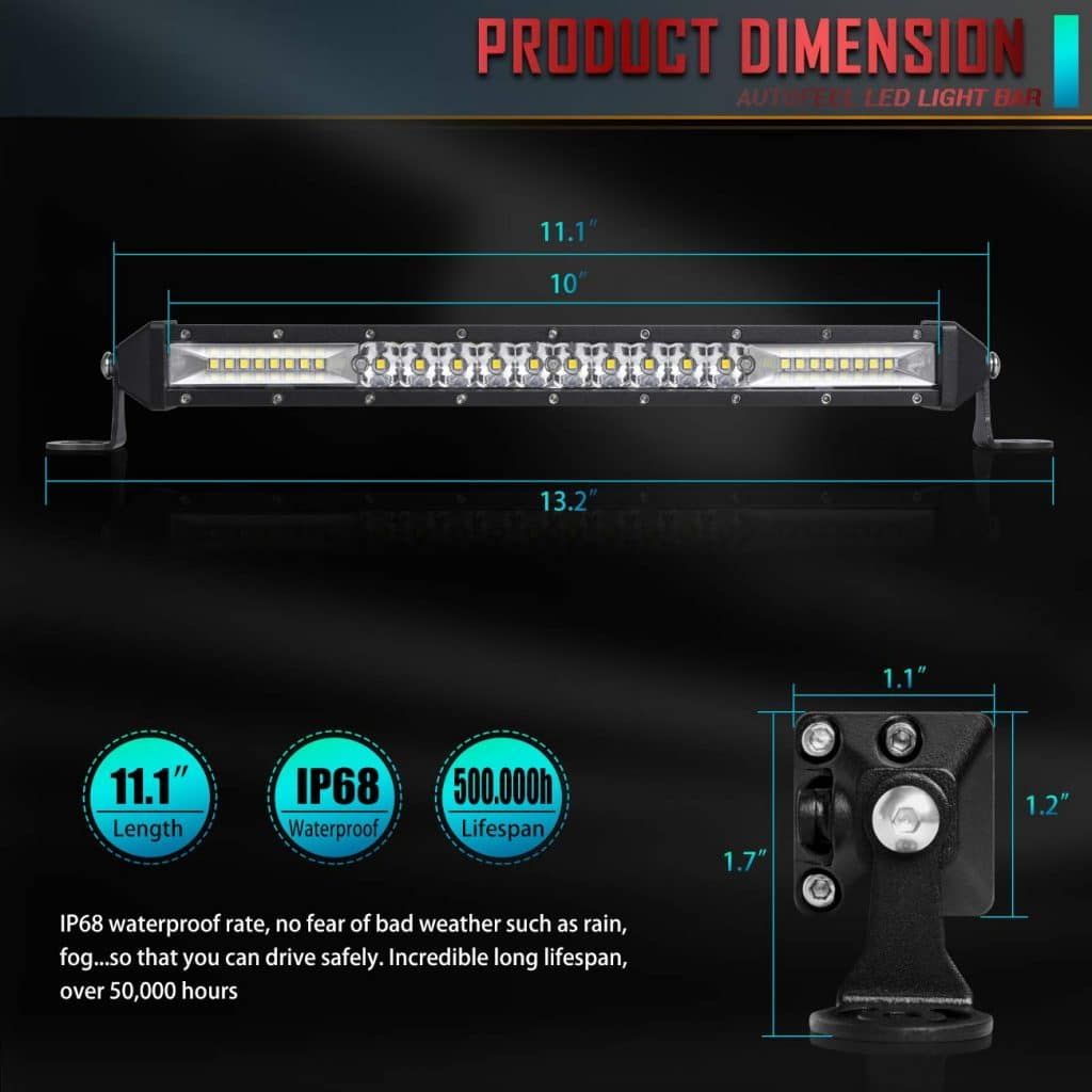 "Autofeel 12"" 1-Row LED Light Bar"