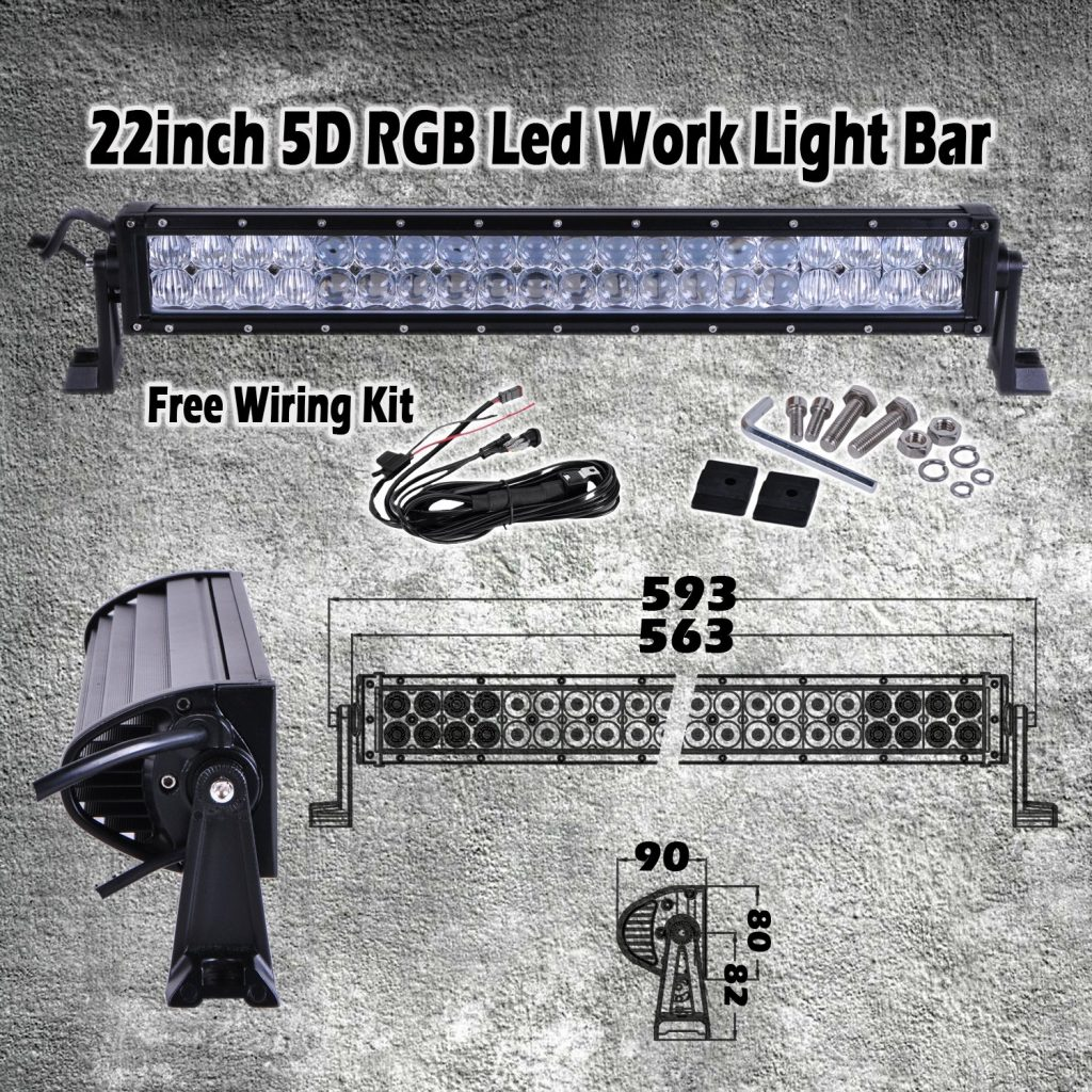 omotor 5D 22 Inch RGB Cree Led Work Light Bar