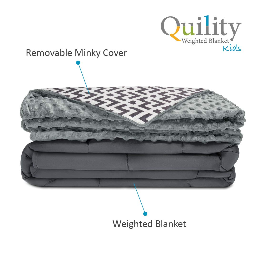 "Quility Premium Kids Weighted Blanket & Removable Cover | 05 lbs | 36 ""x48"" 