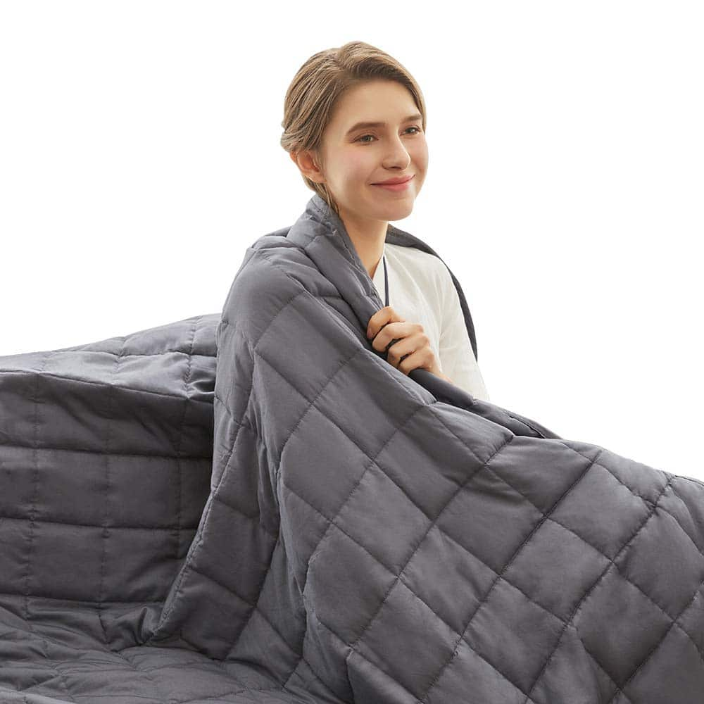 "Weighted Idea Heavy Queen Size Weighted Blanket 25 lbs Adult 60''x80"" (100% Natural Cotton, Grey)"