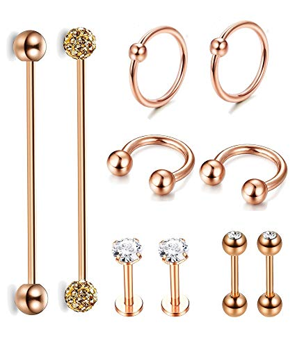 Jstyle 10Pcs Stainless Steel Industrial Barbell
