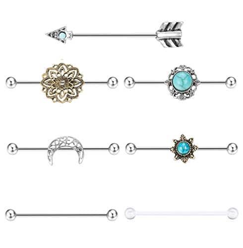 Milacolato 7PCS Industrial Barbell Earring