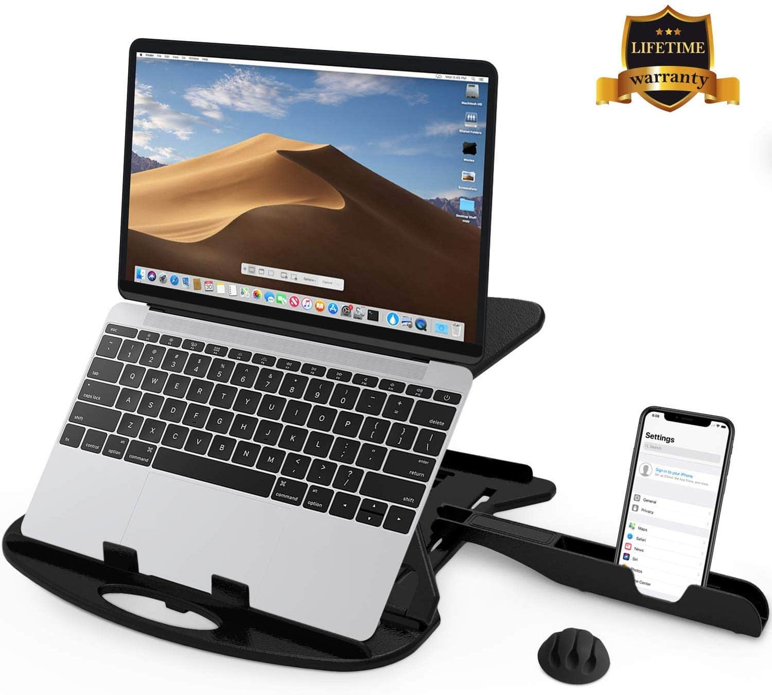 Adjustable Laptop Stands Patented Riser Ventilated Portable Foldable Swivel Compatible with MacBook Notebook Tablet Tray Desk Table Book with Free Phone Stand and Cable Clip