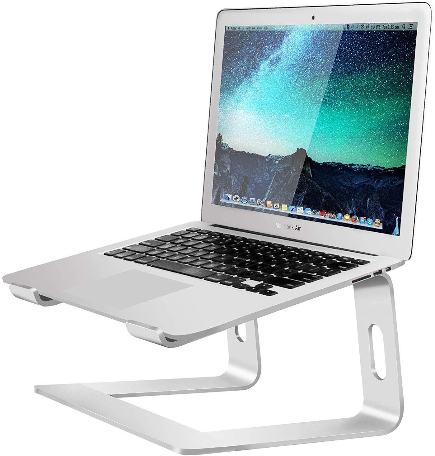 Soundance Aluminum Laptop Stand for Desk Compatible with Mac MacBook Pro Air Apple Notebook, Portable Holder Ergonomic Elevator Metal Riser for 10 to 15.6 inch PC Desktop Computer, LS1 Silver
