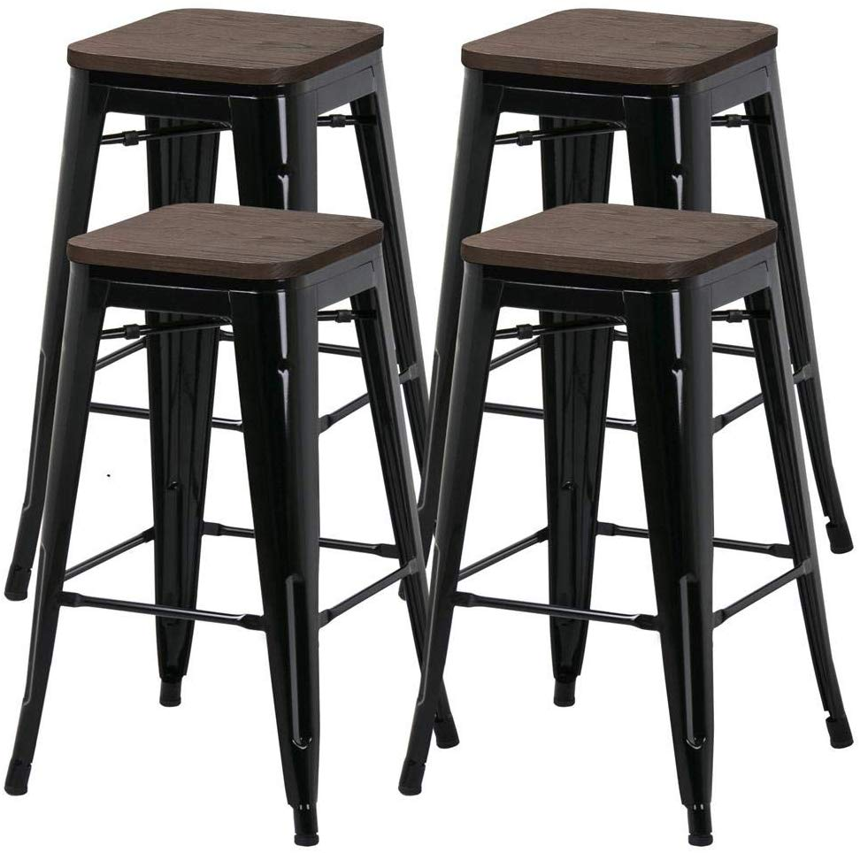 Yaheetech 26inch Set of 4 Counter Height Metal Bar Stools