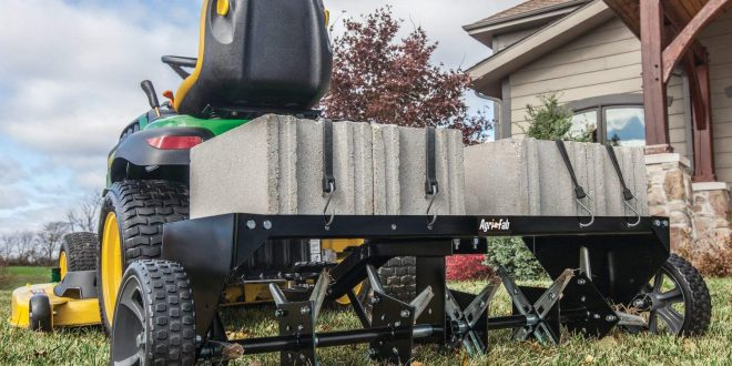 with Container Step /'N Tilt Manual Core Plug Lawn Aerator Version 3