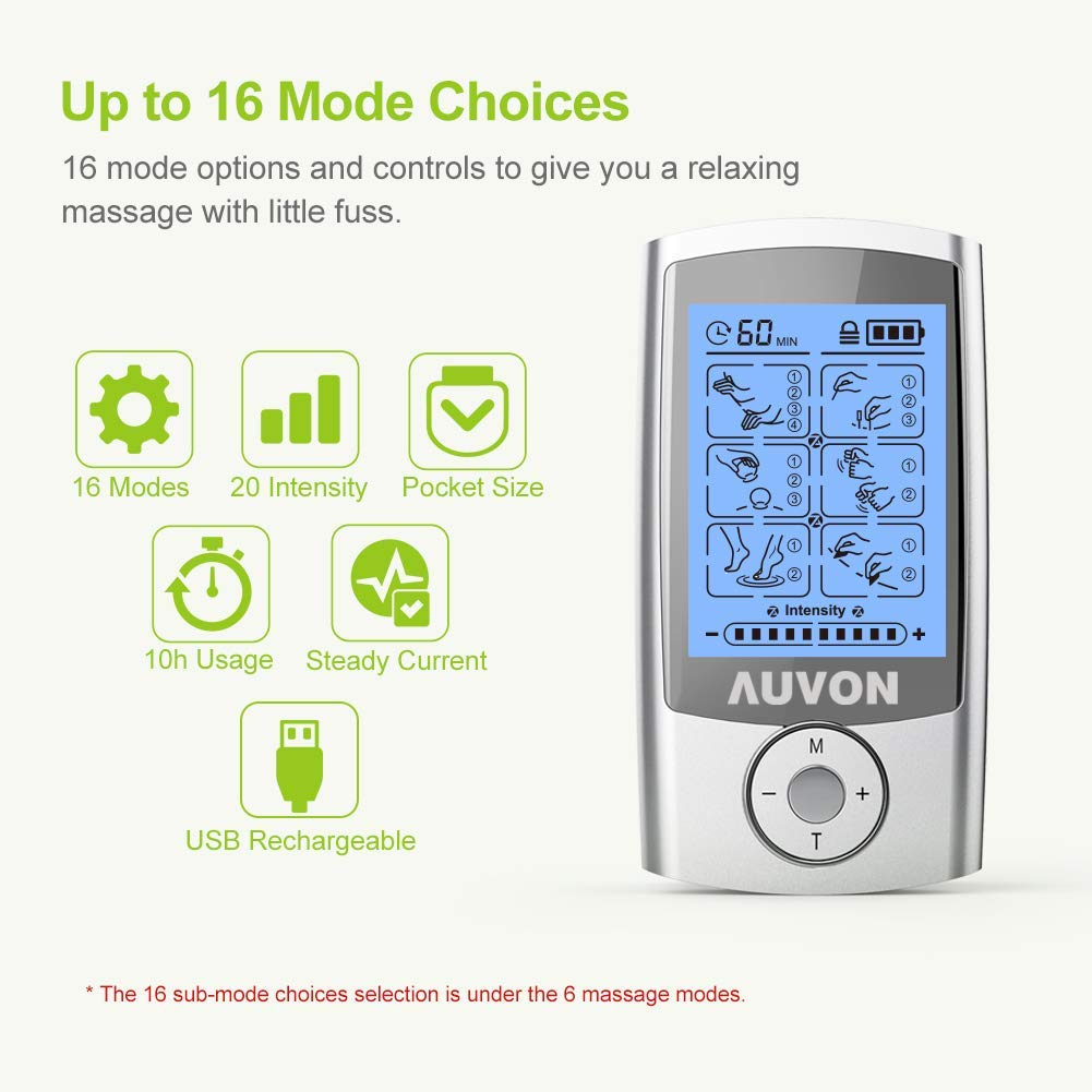 "Auvon Rechargeable TENS Unit-Muscle Stimulator-3rd Gen- 16 Modes-8pcs 2""x2"" Premium Electrode Pads- American Gel for Pain Relief"