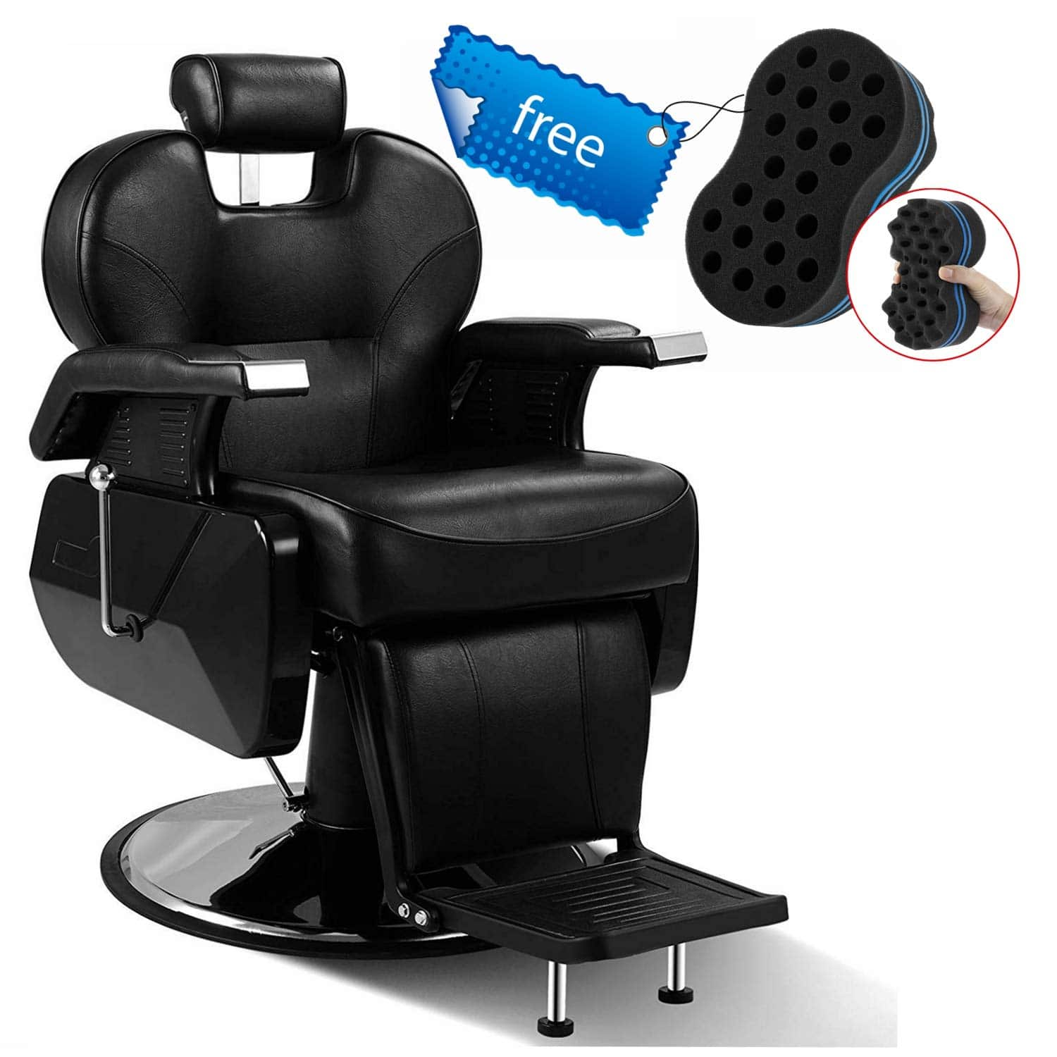Black All Purpose Hydraulic Recline Barber Chair with Free Twist Hair Brush Sponge Salon Beauty Styling Chair for Beauty Shop