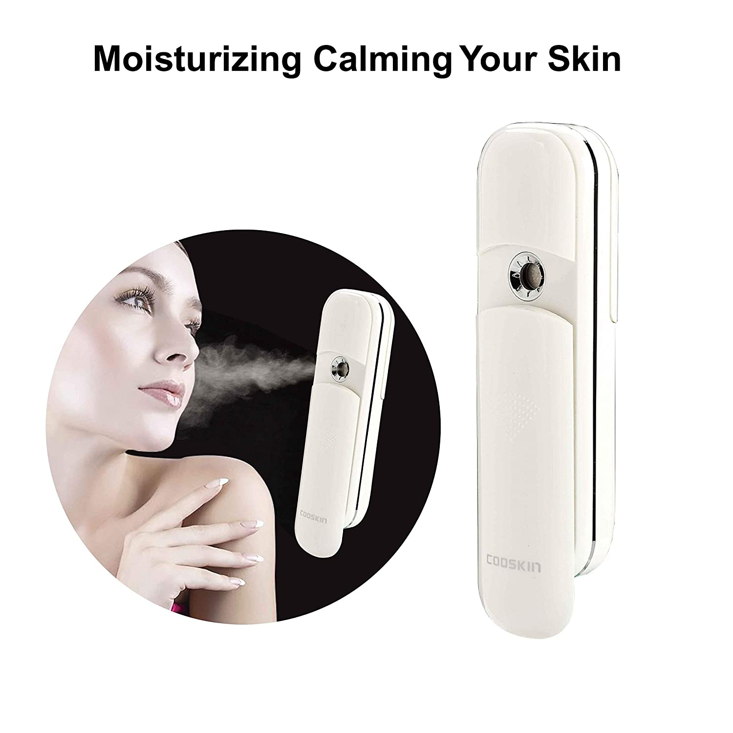 COOSKIN Anzikang Nano Handy Mist Spray Atomization Facial Mister Eyelash Extensions Humectant Steamer Moisturizing Eyes Beauty Instrument (White)