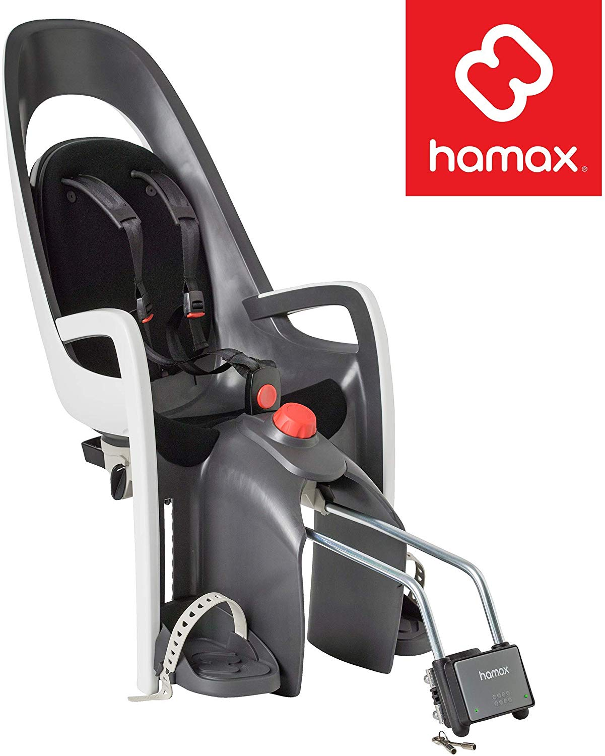 Hamax Caress Child Bike Seat, Ultra-Shock Absorbing Frame or Rack Rear Mount, Adjustable to Fit Kids (Baby through Toddler) 9 mo - 48.5 lb