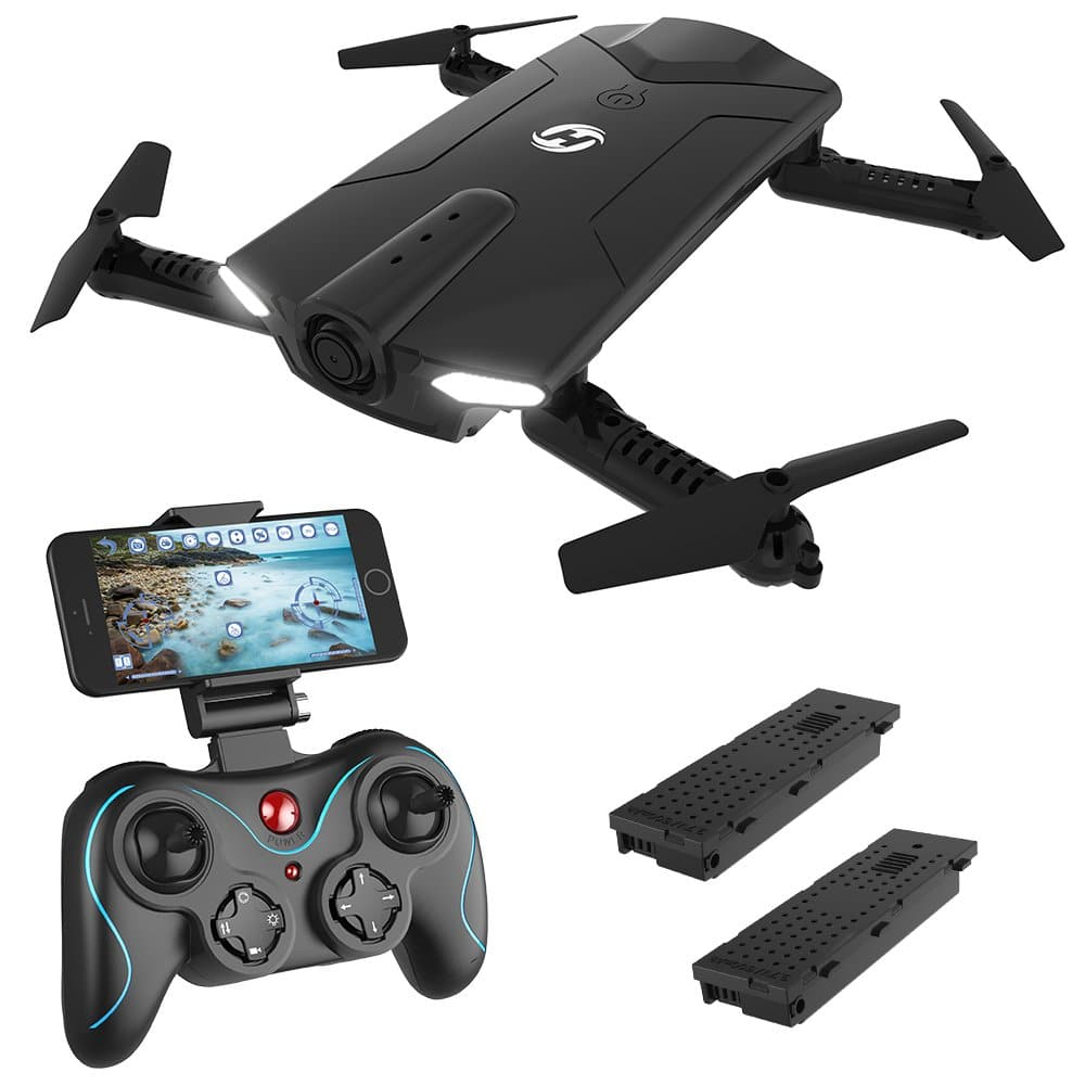 Holy Stone HS160 Shadow FPV RC Drone with 720P HD wi-fi Camera Live Video Feed 2.4GHz 6-Axis Gyro Quadcopter for Kids & Beginners - Altitude Hold, One Key Start, Foldable Arms, Bonus Battery