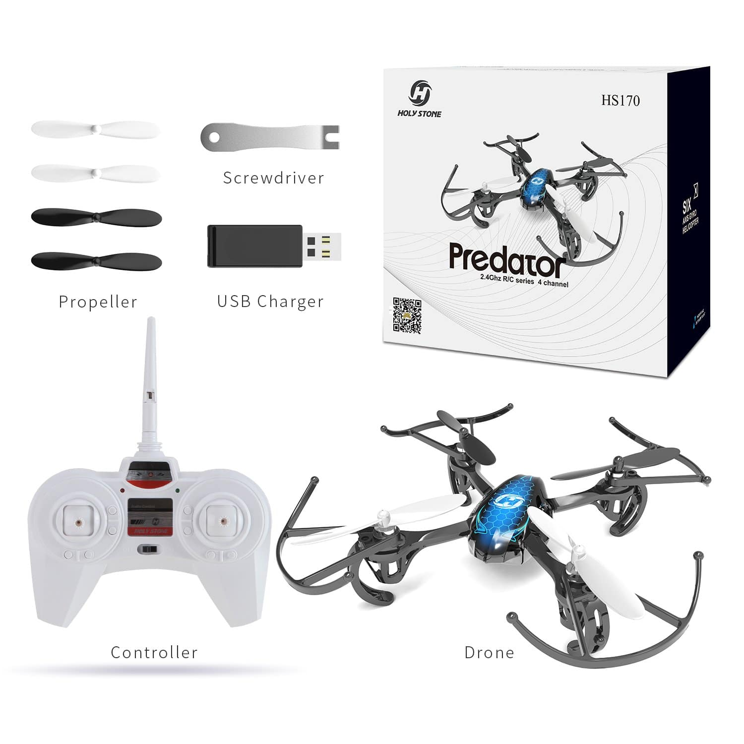Holy Stone HS170 Predator Mini RC Helicopter Drone 2.4 Ghz 6-Axes Gyro 4 Channels Quadcopter Good Choice for Drone Training