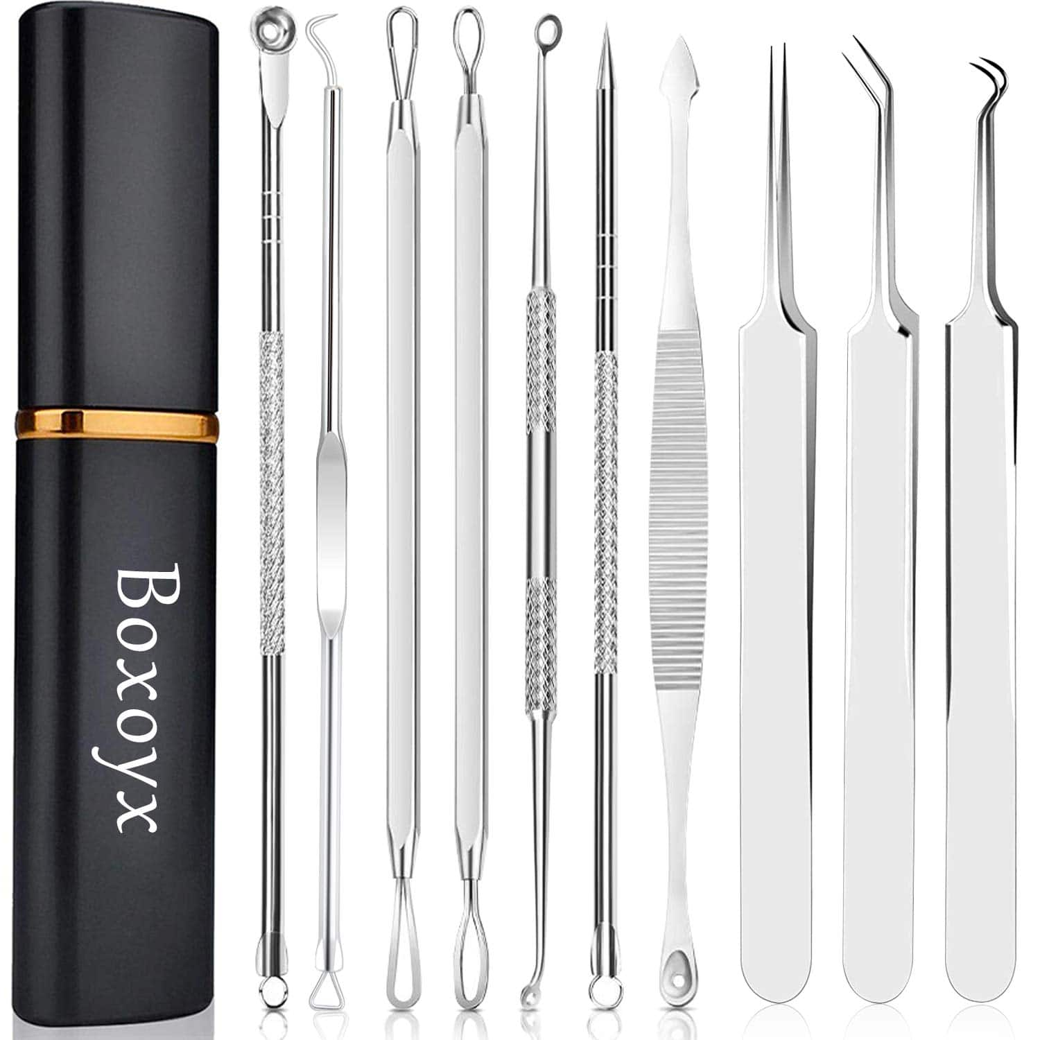 [Latest]Boxoyx 10 Pcs Professional Pimple Comedone Extractor
