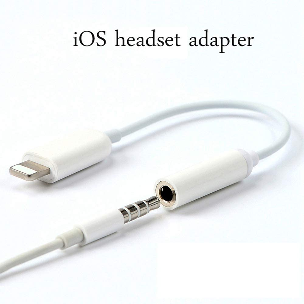Lightning to 3.5mm Headphone Jack Adapter for iPhone(Apple MFI Certified), Connector Aux Audio Earphone Stereo Cable for iPhone 11 Xs Max XR X 8 7 6 Plus Support Music Control Function & iOS 12-White