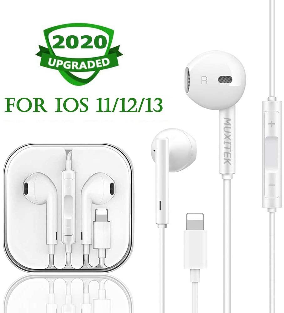 MUXITEK Earbuds, Microphone Earphones Stereo Headphones Noise-Isolating Headset Fit Compatible with iPhone Xs/XR/XS Max/iPhone 7/7 Plus iPhone 8/8Plus /iPhone X Earphones (1Pack)