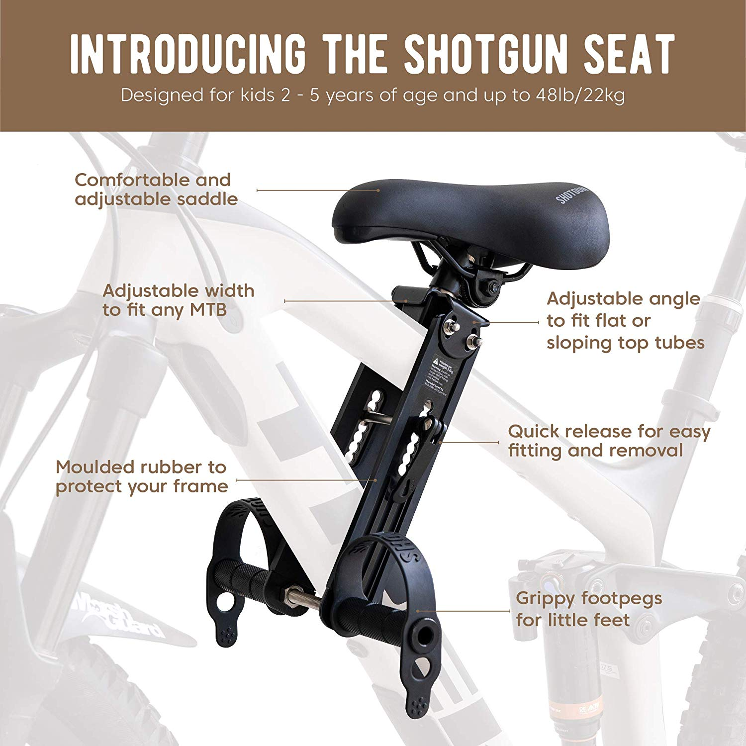 SHOTGUN Kids Bike Seat for Mountain Bikes | Front Mounted Bicycle Seats for Children 2-5 Years (up to 48 Pound) | Compatible with All Adult MTB | Easy to Install