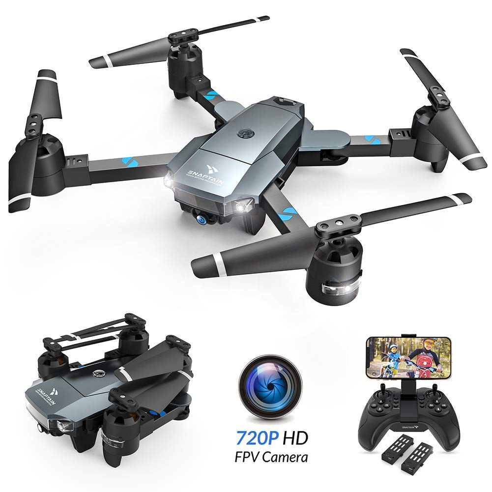 SNAPTAIN A15 Foldable FPV wi-fi Drone w/Voice Control/120°Wide-Angle 720P HD Camera/Trajectory Flight/Altitude Hold/G-Sensor/3D Flips/Headless Mode/One Key Return/2 Modular Batteries/App Control