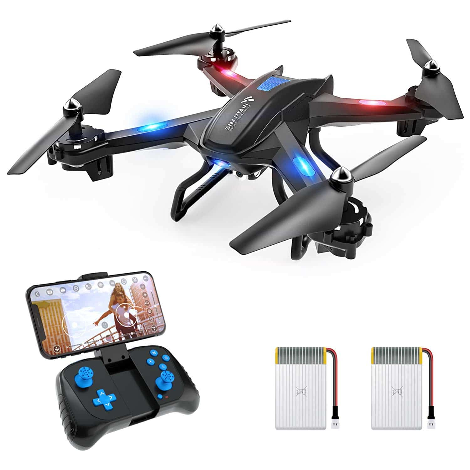 SNAPTAIN S5C wi-fi FPV Drone with 720P HD Camera, Voice Control, Gesture Control RC Quadcopter for Beginners with Altitude Hold, Gravity Sensor, RTF One Key Take Off/Landing, Compatible w/VR Headset
