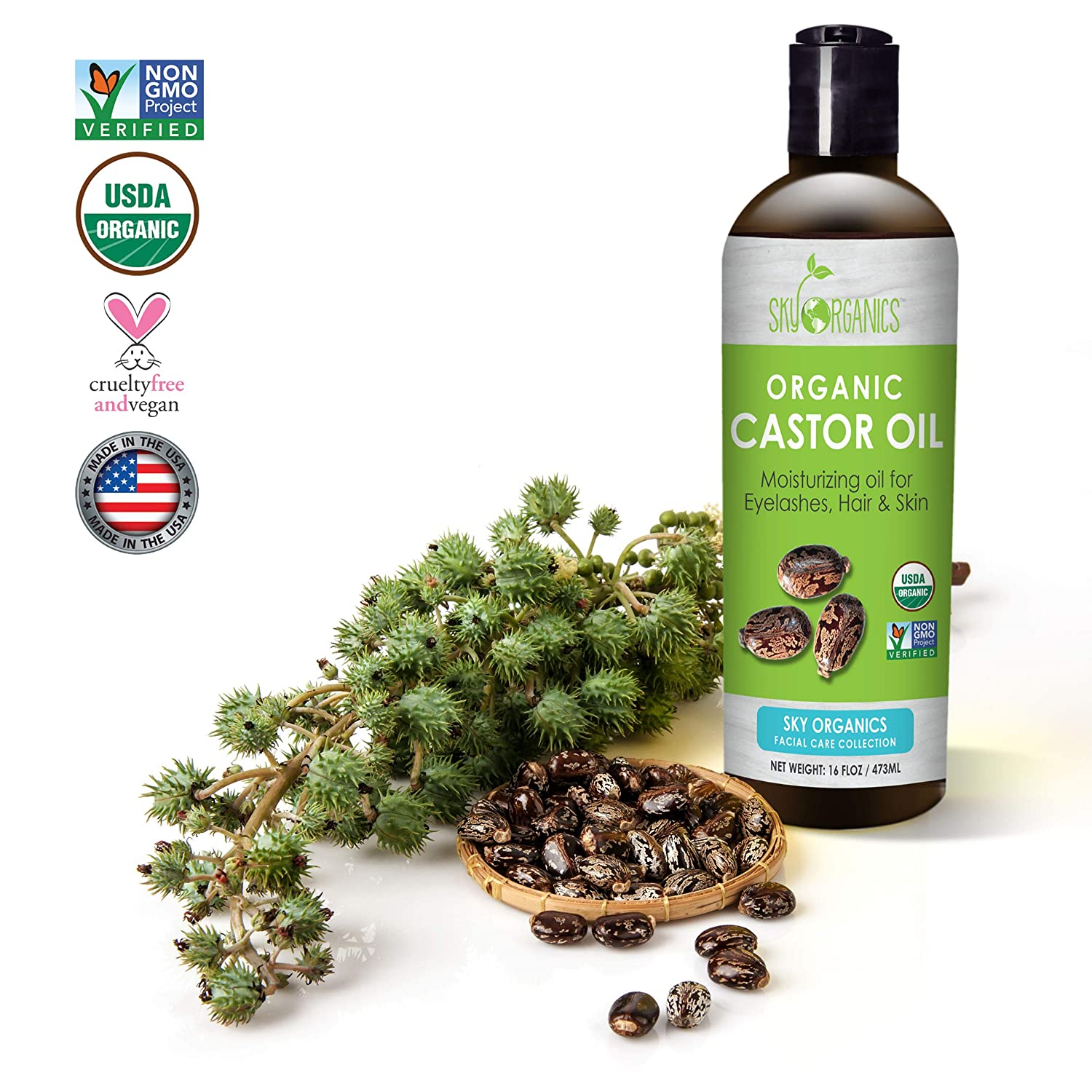 Castor Oil USDA Organic Cold-Pressed 100% Pure, Hexane-Free Castor Oil - Moisturizing & Healing, For Dry Skin, Hair Growth - For Skin, Hair Care, Eyelashes - Caster Oil By Sky Organics, 16oz (1 Pack)