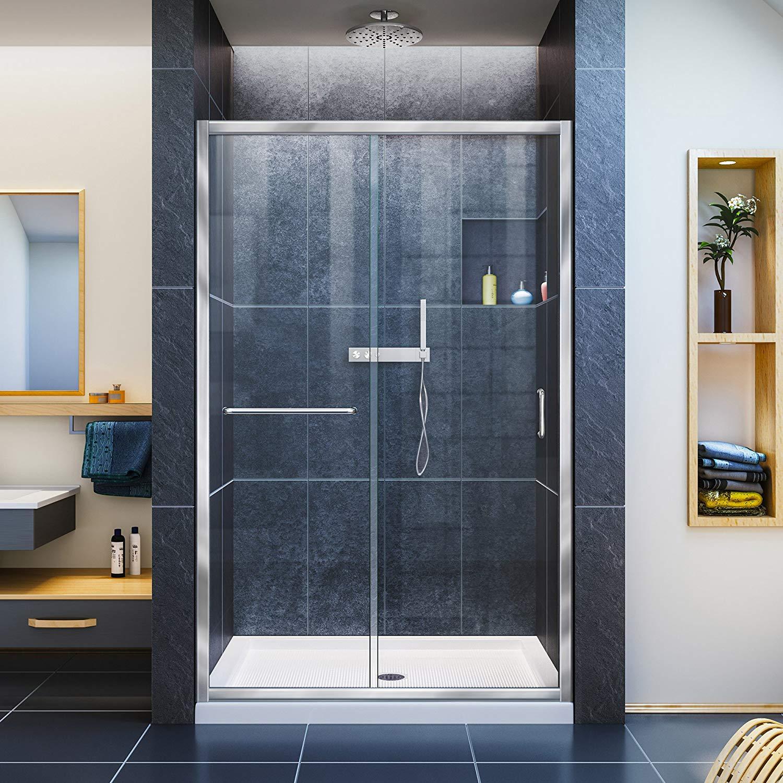 DreamLine Infinity-Z 44-48 in. W x 72 in. H Semi-Frameless Sliding Shower Door, Clear Glass in Chrome