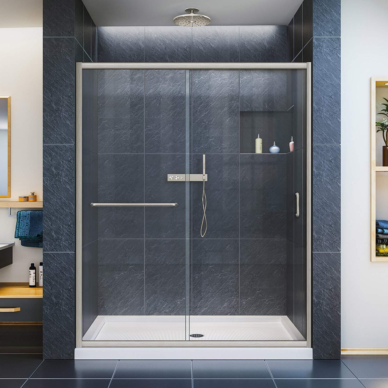 DreamLine Infinity-Z 56-60 in. W x 72 in. H Semi-Frameless Sliding Shower Door, Clear Glass in Brushed Nickel