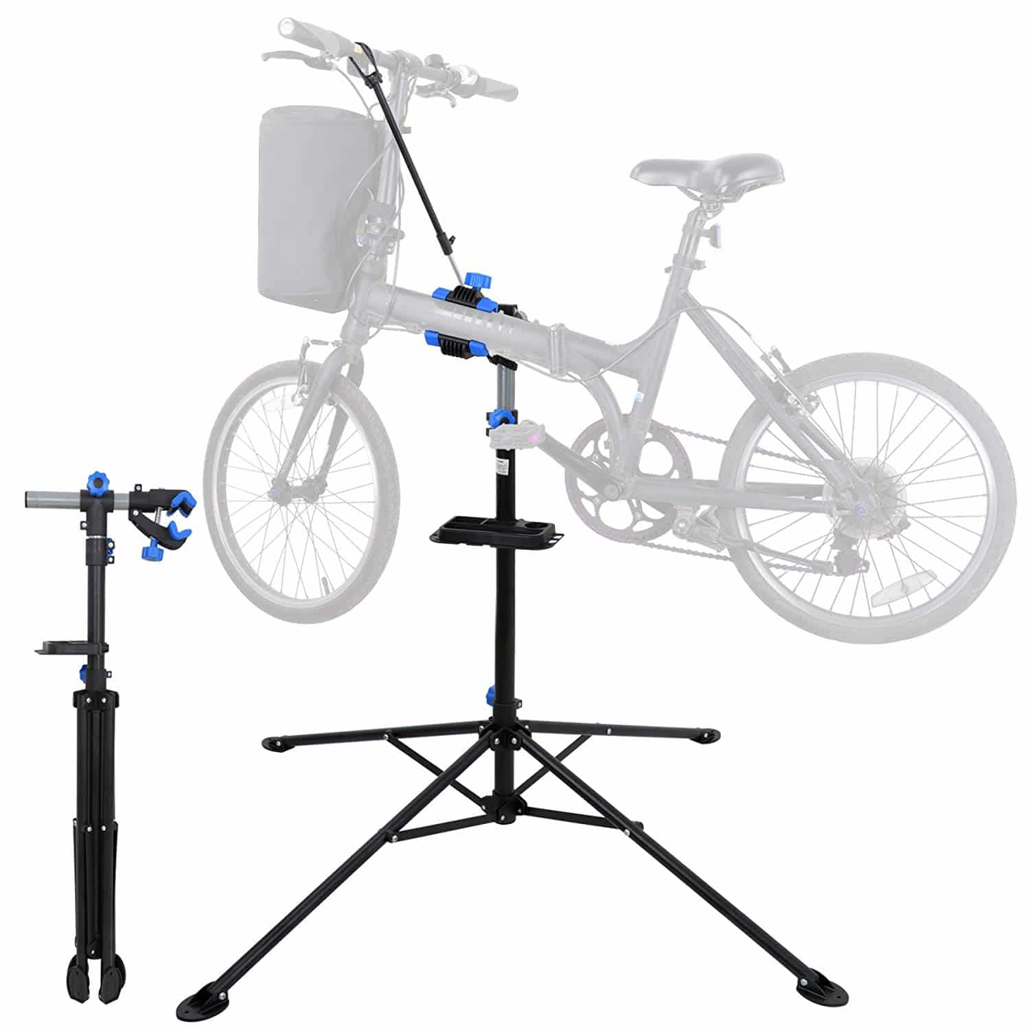 "F2C Portable Adjustable 42.5"" to 74"" Pro Home Steel Maintenance Mechanic Bicycle Bike Repair Tool Rack Stands Workstand w/Telescopic Arm, Tool Tray& Balancing Pole Cycle Bicycle Rack"