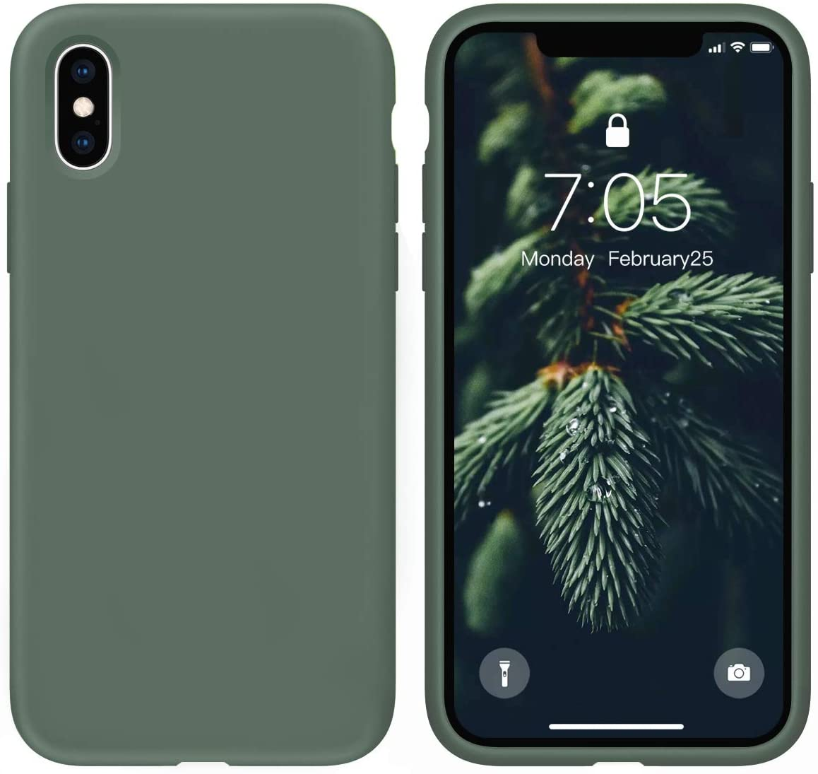 OUXUL Case for iPhone X/iPhone Xs case Liquid Silicone Gel Rubber Phone Case, iPhone X/iPhone Xs 5.8 Inch Full Body Slim Soft Microfiber Lining Protective Case (Forest Green)