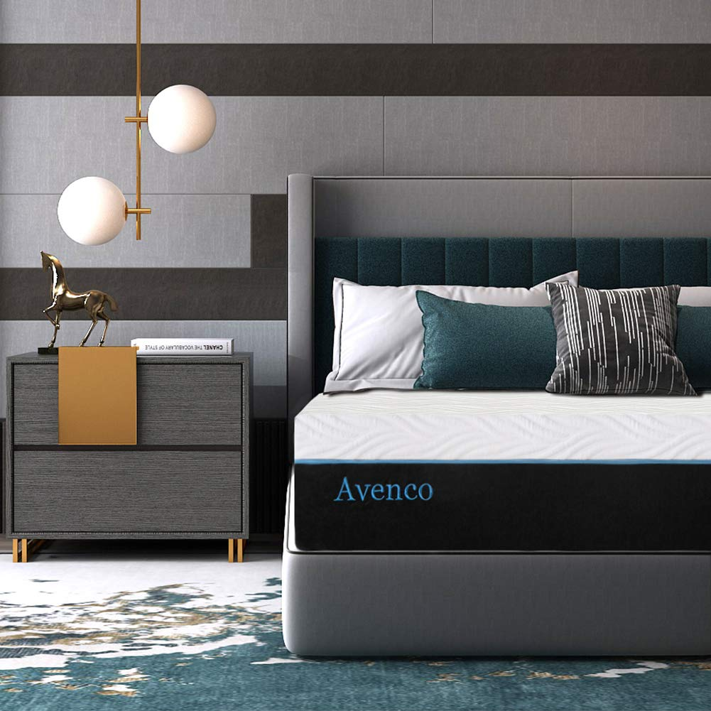Queen Memory Foam Mattresses, Avenco 12 Inch Queen Size Mattress in a Box, Premium Bed Mattress Queen with CertiPUR-US Certified Foam for Supportive, Pressure Relief & Cooler Sleeping, 10 Years Warranty
