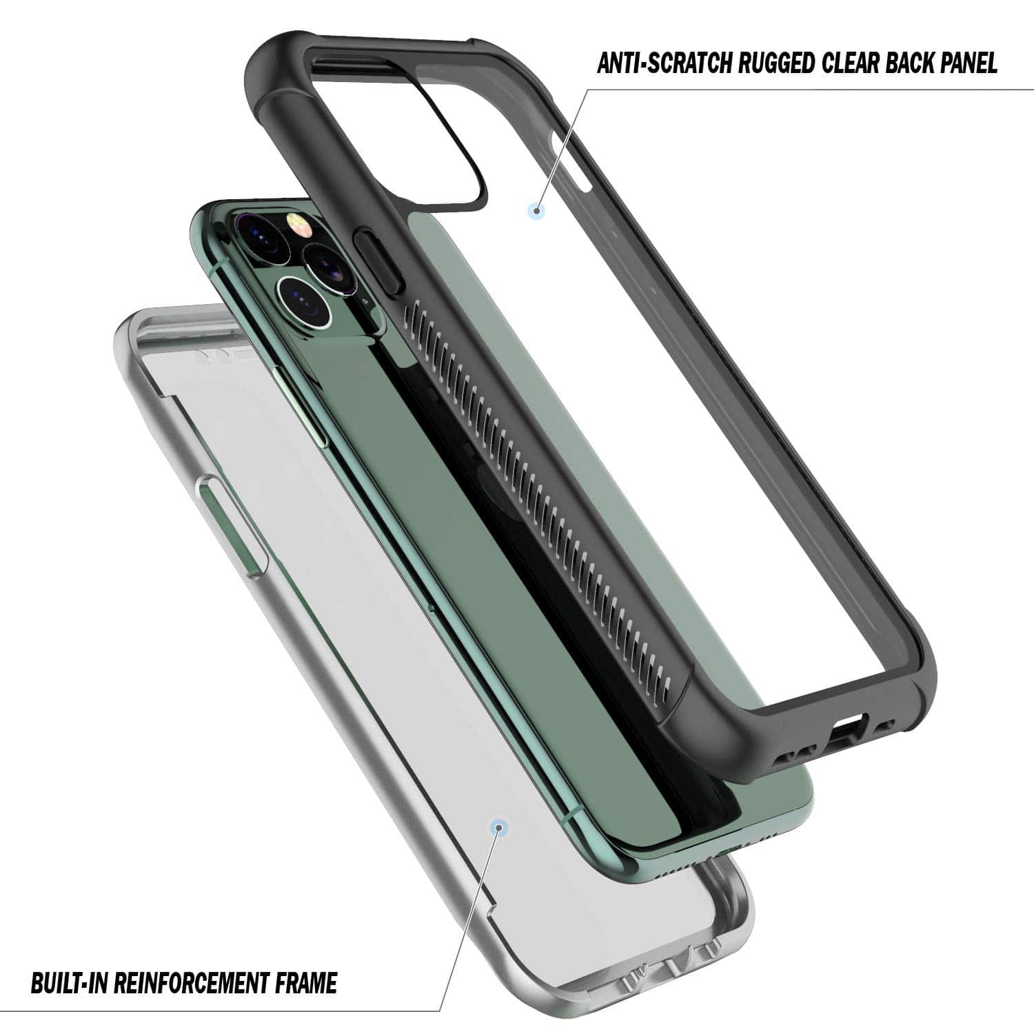 SPIDERCASE iPhone 11 Pro Max Case, Built-in Screen Protector Full Heavy Duty Protection Shockproof Anti-Scratched Rugged Case for iPhone 11 Pro Max 6.5 inch 2019 (Black Clear)