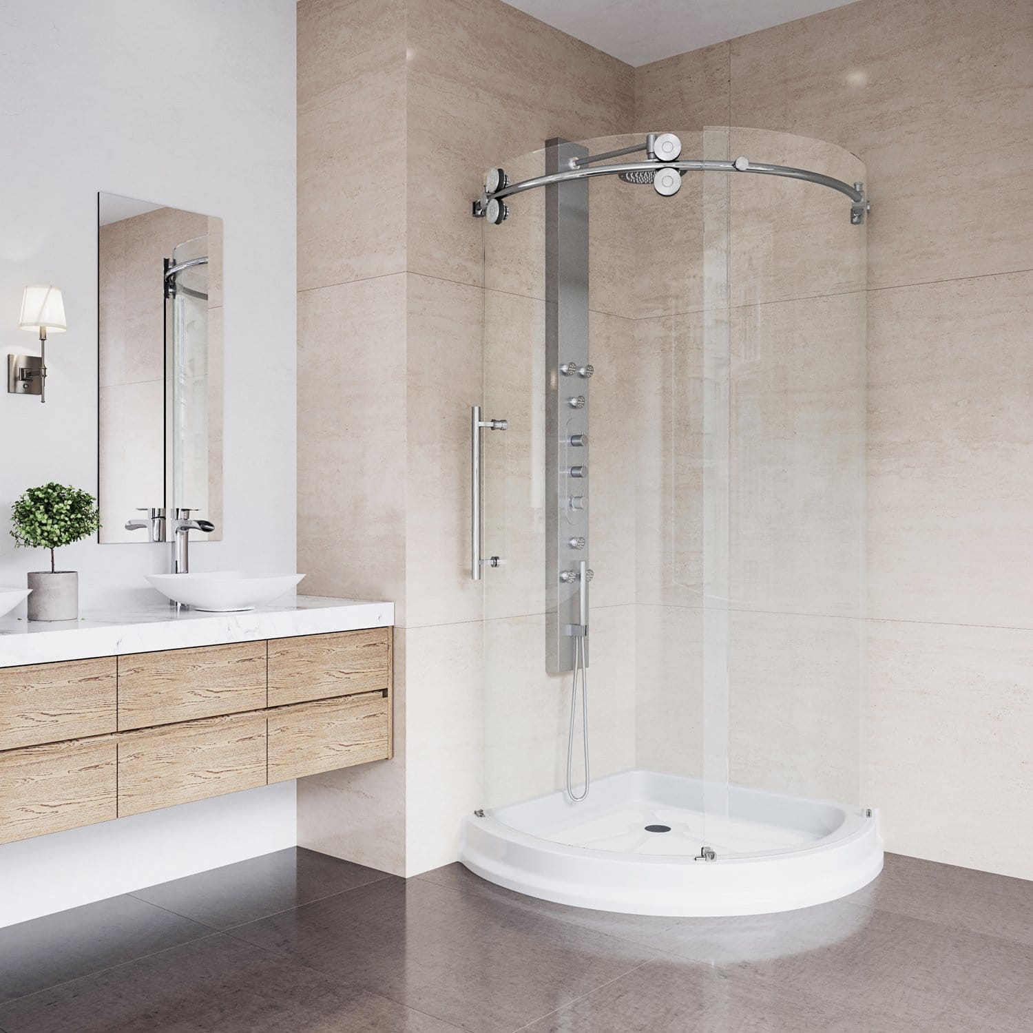 VIGO 40 x 40 Left Open Frameless Round Sliding Shower Enclosure with Tempered Glass and 304 Stainless Steel Hardware