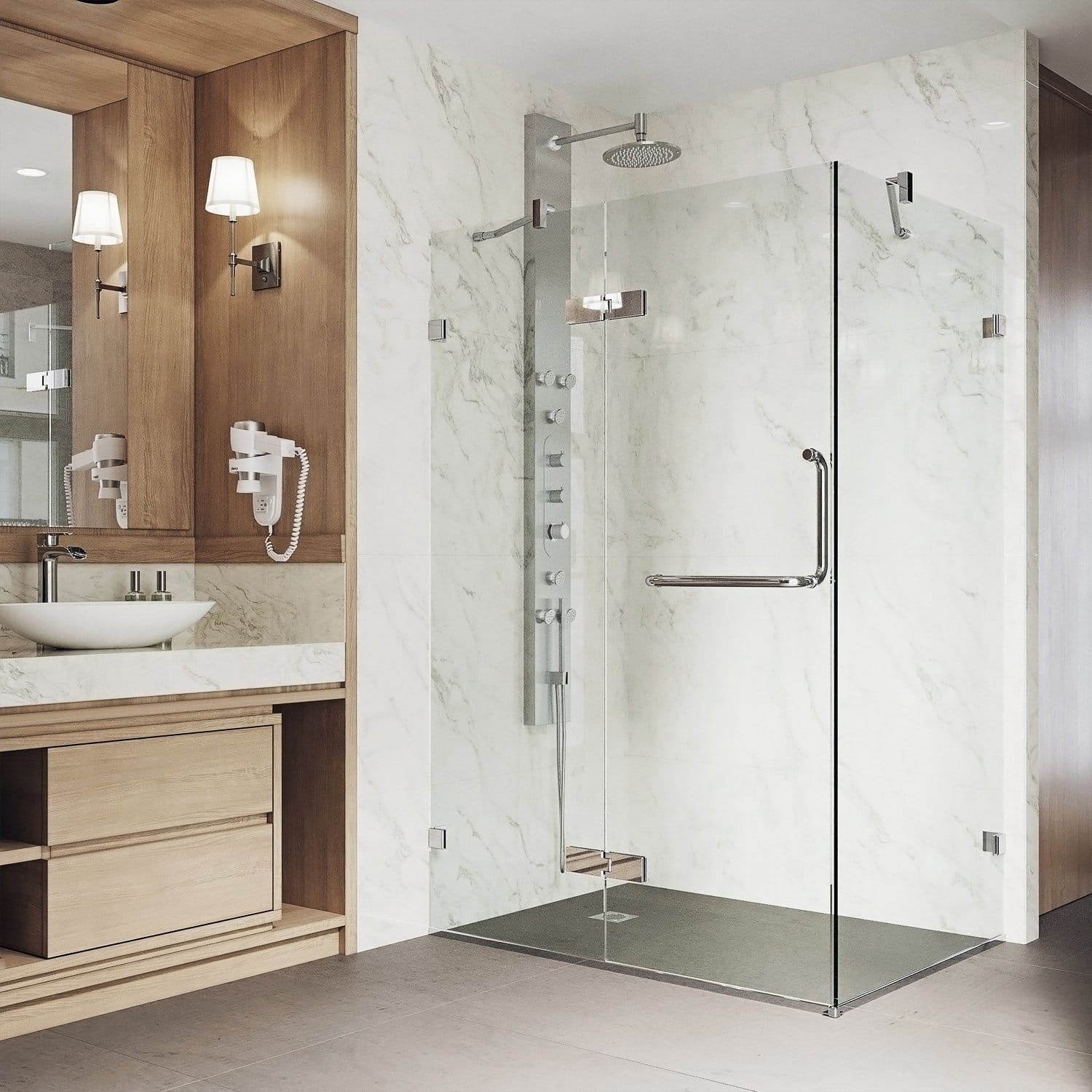 Vigo VG6011CHCL40 Monteray 38.25 in. x 73.375 in. Frameless Corner Hinged Shower Enclosure in Chrome with Clear Glass