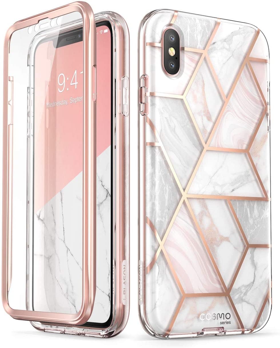 i-Blason Cosmo Full-Body Case for iPhone Xs/ iPhone X Case 2018 Release, Marble, 5.8.""